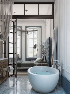 Beautiful bowl tub in the master bathroom