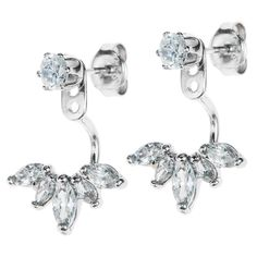 Dreambell Rhodium On 925 Sterling Silver Clear Cz Crystal 2 In 1 Stud And Jacket Ear Cuff Earrings * Learn more by visiting the image link. (This is an affiliate link and I receive a commission for the sales)