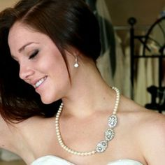 Pearl necklace with three rhinestone pins. Perfect! #gift #bridal # sale  $144.00  http://www.victoriarosebridals.com/product/7371mh/