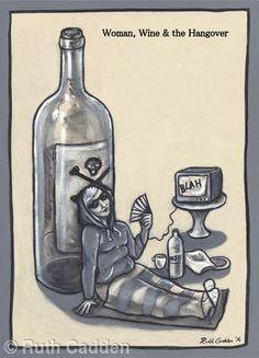 Woman, Wine and the Hangover - Giclee Print Buy Wine Online, Wine Subscription, Wood Wine Racks, Woman Wine, Wine Stoppers, Wine And Spirits, Twine, Giclee Print
