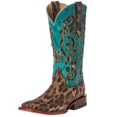 Women's Ferrini Turquoise Leopard Print Cowgirl Boots Item # 84293-50