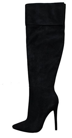 7c7cd5d8b06 Glaze Women s Over The Knee Closed Pointed Toe Fold Over Cuff Stiletto Heel  Boot Review Black