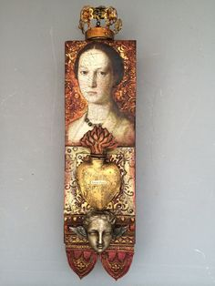 Mixed media assemblage totem Sweet Peace by LaurieMika on Etsy, $295.00