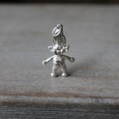 Fine silver Troll doll charm by ALMrozarka on Etsy