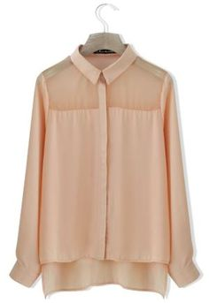 Sheer Panel Chiffon Shirt by dolly