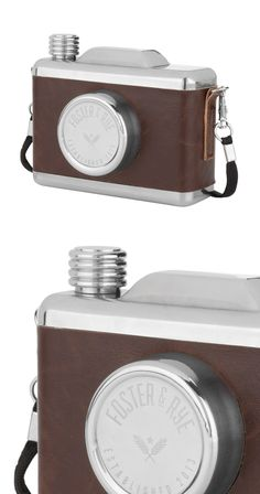 """The term """"snapshot"""" takes on a whole new meaning with the Shutterbug Flask. Disguised as a hip, vintage camera, this unassuming addition holds 11 ounces of your drink of choice. Just unscrew the cap—no...  Find the Shutterbug Flask, as seen in the Photographer's Loft Collection at http://dotandbo.com/collections/photographers-loft?utm_source=pinterest&utm_medium=organic&db_sku=113091"""