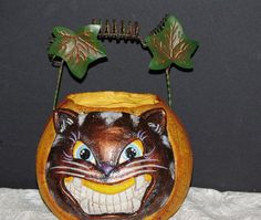 Halloween Pumkin with Scary Black Cat for your by SuzsCollectibles