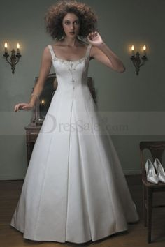 Mesmerizing Tank Straps Scoop Neckline A-line Bridal Dress in Satin
