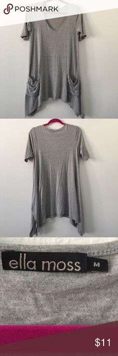 Gray  Ella Moss Top Shark bite hem with pockets. This top drapes beautifully over your hips. Looks great with leggings, skinny jeans or a Bermuda shorts. Ella Moss Tops Tees - Short Sleeve