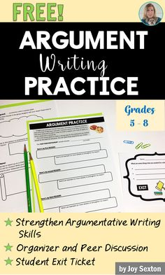 Help your students to better understand argumentative writing with this fu Writing Strategies, Writing Lessons, Writing Practice, Writing Resources, Teaching Writing, Writing Skills, Writing Activities, Writing Ideas, Comprehension Strategies