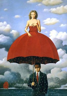 This looks very much like a Magritte painting but apparently it's by Rafal Olbinski. Will have to find out more about him and his works.
