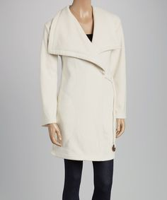 Look at this KOEZY Ivory Micro-Fleece Wrap Coat - Women on #zulily today!