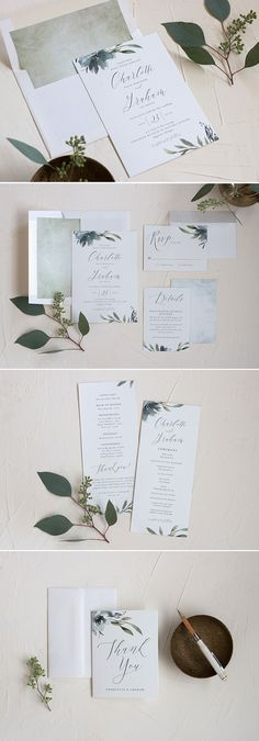 Muted Floral Wedding Invitation Suite.