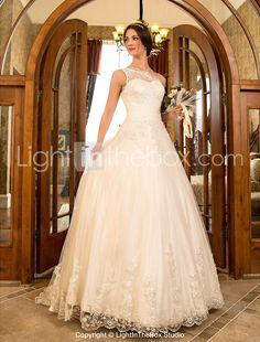 uma linha princesa varrer um ombro / escova de trem de tule e rendas do vestido de casamento (632801) - BRL R$ 432,21
