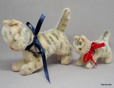 Hermann #Tabby Kitty Cat x 2 Mohair Plush 9 /12cm 3.5 /5in Large Glass Eyes 1960s #Hermann AllOccasion