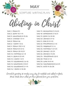 May Scripture Writing Plan - Abiding in Christ — Whole Magazine - Bible Reading Plan Prayers and how to pray Bible Study Plans, Bible Plan, Bible Study Journal, Scripture Journal, Daily Bible Reading Plan, Scripture Reading, Scripture Study, Family Scripture, Bible Scriptures