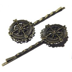 Steampunk Compass Brass Metal Lace Bobbi Pin Hair by tempusfugit, $24.99