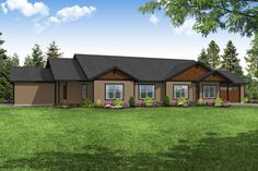 This graceful Multi-Unit style home with Ranch elements (Plan #108-2028) has 1217 living square feet in Unit A and 1161 living square feet in Unit B. The 1-story floor plan includes 2 bedrooms per unit. #multi-unit #houseplan Ranch House Plans, Craftsman House Plans, House Floor Plans, Family House Plans, Garage Apartment Plans, Garage Plans, Porch Plans, Garage Entry, Exterior Wall Materials