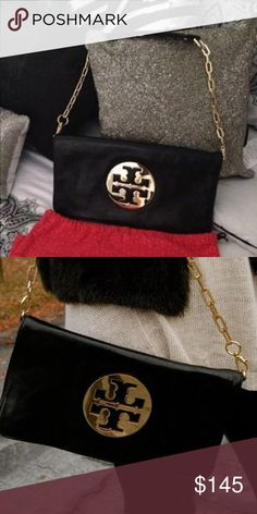 Tory Burch Black Reva Clutch Gorgeous black oversized Tory Burch clutch and bag. Purchased from Tory Burch store...comes with dust bag. In great condition - I used only a few times. Tory Burch Bags Clutches & Wristlets