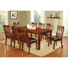 """Furniture of America Foxville Dining Table Set with 18"""" Leaf in Cherry Finish"""