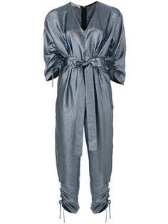 metallic V-neck jumpsuit