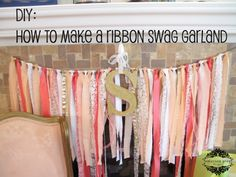 I'd love to create a beautiful wall hanging like this for baby Sweet Pea - Emerson Grey Designs : Nursery Interior Designer: DIY ribbon swag garland {coral, peach and gold} Ribbon Garland, Diy Garland, Diy Ribbon, Fabric Ribbon, Baby Decor, Baby Shower Decorations, Emerson, Coral Baby Showers, Nursery Inspiration