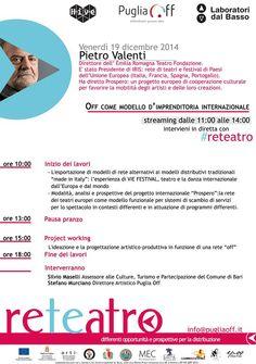 Seconda giornata di #reteatro con Pietro Valenti, direttore dell'Emilia Romagna Teatro.