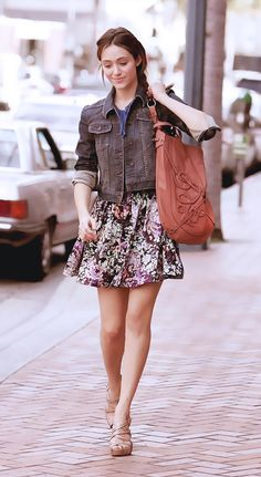 Brown jacket over denim shirt + brown  pink floral mini skirt-adorable. dfc16b159a4