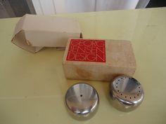 vintage retro georg jensen salt and & pepper  shakers stainless steel in box