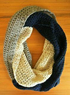 Multi color long crochet infinity scarf