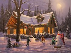 Bits and Pieces - 300 Large Piece Glow in The Dark Puzzle for Adults - Family Traditions by Artist Geno Peoples - Winter Christmas Cabin - Holiday - 300 pc Jigsaw Boxed Christmas Cards, Christmas Scenes, Christmas Art, Winter Christmas, Vintage Christmas, Merry Christmas Pictures, Christmas Houses, Beautiful Christmas, Panama City Florida