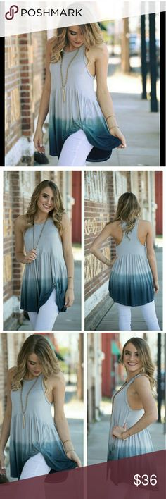 "JUST IN ✨ Ombre Side Knot Babydoll Tunic Gorgeous blue-grey ombre side knot babydoll tunic.  Lightweight, super soft and comfortable.   Size M (6/8) True to size.   Bust 18"" Length (front/back) 28/32""  94% Rayon 6% Spandex  Actual color less bright than appears in model pictures. Infinity Raine Tops Tunics"