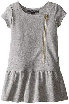 Nautica Little Girls' Asymmetrical Zipper Dress with Gathered Skirt: Baby girl sizes come with a diaper cover Frocks For Girls, Little Girl Dresses, Girls Dresses, Toddler Outfits, Kids Outfits, Casual Outfits, Toddler Fashionista, Stylish Baby Girls, Dress Patterns