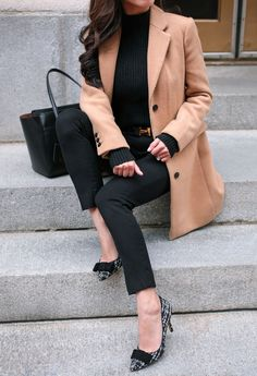 festive holiday bow tweed pumps and camel wool coat