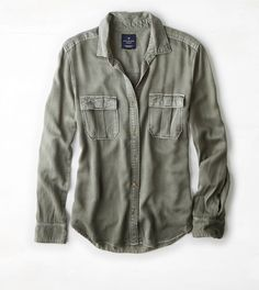 Olive AEO Military Button Down Shirt