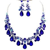Royal Blue Crystal Necklace Set Elegant Wedding Prom Jewelry