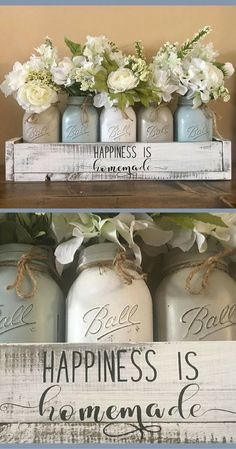 Happiness is homemade - YEP!! I really like these muted colors!!! mason jar centerpiece, farmhouse decor, mason jar farmhouse, wedding decor, mason jar decor, mason jar table decor, rustic home decor, rustic decor, wedding gift idea #ad