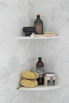 Modern Gray - Shower Organization - Hexagon Tile - Bathroom Ideas - Kitchen Design —I like the tiles shape, but I also like the corner shelves Upstairs Bathrooms, Laundry In Bathroom, Bathroom Renos, Bathroom Interior, Master Bathroom, Bathroom Ideas, Master Shower, Bathroom Shower Organization, Houzz Bathroom