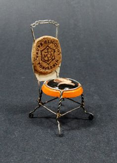 Madam Veuve Cliquot Miniature Cork Cage Chair Two Portraits Silver Soldered by Paul Veit art Jules… next time were together we will do this! Veuve Cliquot, Minis, Wine Craft, Cork Art, Cork Crafts, Recycled Art, Cool Chairs, Miniture Things, Corks