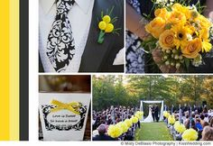 """A yellow wedding color scheme for fall using the damask motif. From """"Ideas For Yellow Wedding Color Schemes""""."""