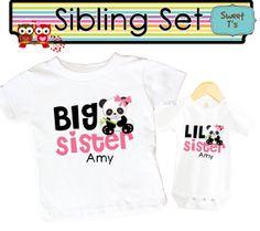 SET Sibling Personalized Panda Bear Little Sister by Sweetteez1, $28.00
