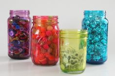 Make colorful mason jars with Mod Podge at Mom Spark