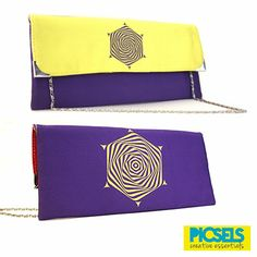 Psychedelic Flower clutch: Yellow & Purple. For details and orders please email us at picselsce@gmail.com