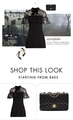 """""""Nyctophiliac"""" by mrs-snow ❤ liked on Polyvore featuring self-portrait, Chanel, Christian Louboutin and Emily & Ashley"""