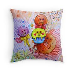 sugar rush scary candy crush sweet obsession art printed cushion home ware idea by Melanie Dann