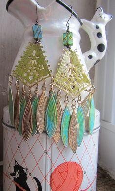 Vintage 1990s Earring assemblage Boho gypsy by Scentedlingerie