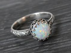 Opal ring sterling silver floral pattern band by SilverStamped