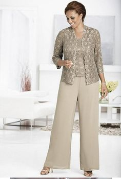 Plus Size Women's Clothing: Stylish & Flattering Fashion │ Ulla Popken Mother Of The Bride Trouser Suits, Mother Of The Bride Jackets, Mother Of The Bride Plus Size, Chiffon Pants, Lace Pants, Lace Jacket, Lace Chiffon, Dress Trousers, Plus Size Women