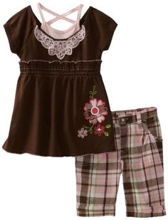 Young Hearts Girls 4-6x 2 Piece Embroidered Plaid Bermuda Pant Set
