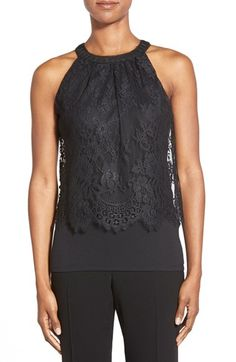 Elie Tahari 'Fey' Lace Overlay Jersey Top available at #Nordstrom